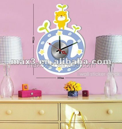 Lovely Clocks DIY Wall Clock With Stickers Metal Decor Wall Clock For Baby Room