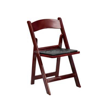 mahogany padded resin folding chair for outdoor