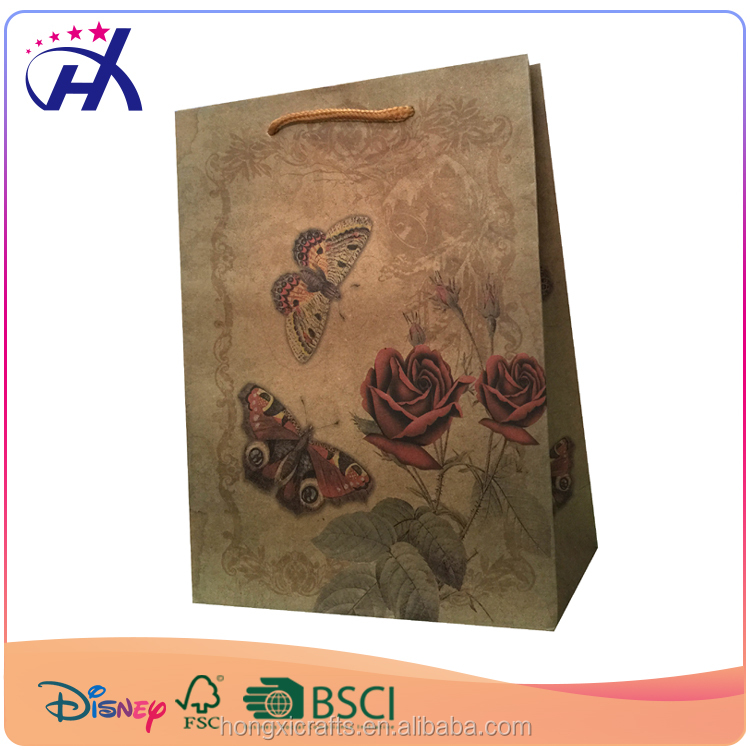 New paper bag printing machine gift brown kraft paper bag for women