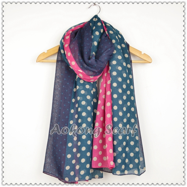 Navy small anchor polyester scarf