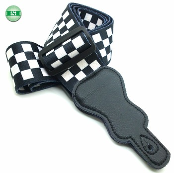 Black white checkered design Guitar Straps leather head