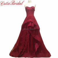Aline Lace Bridal Dress Dark Red Sweetheart Wedding Party Dress With Train Crimson Wedding Dresses