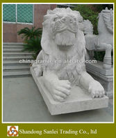 grey granite hand carving animal statue stone lions sculpture
