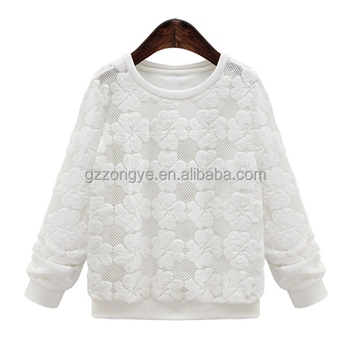 Casual soft lace fabric white shirt long sleeve women's blouses