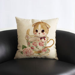 2016 newest 100% cotton linen cushion cup yellow cat