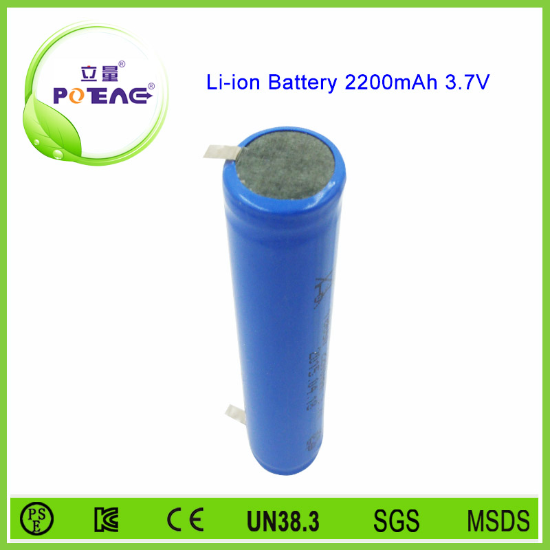 Paypal acceptable cylinder 3.7v 2200mah flat lithium ion battery