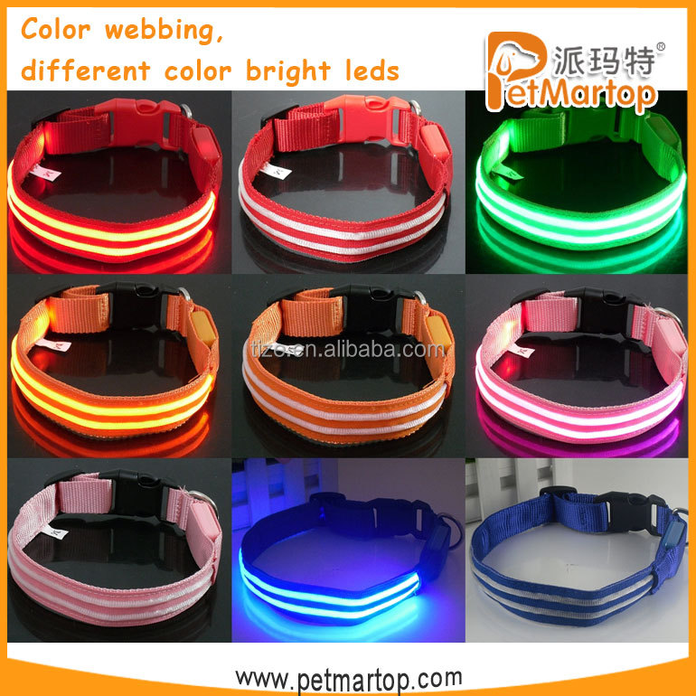 LED nylon dog collar TZ-PET5000G Waterproof, bright light