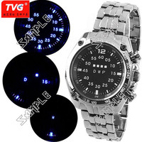 (TVG) Luxurious LED Watch Stainless Steel Wristwatch Timepiece for Man Woman - Blue Light