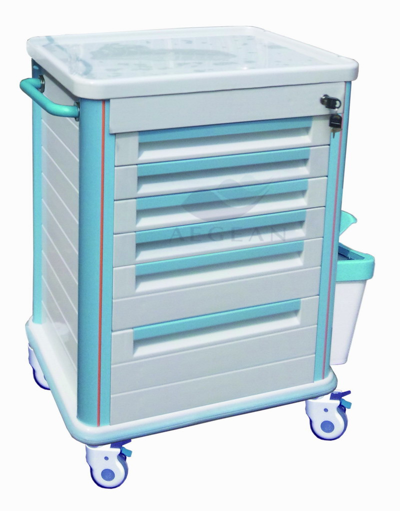 Centralized lock AG-MT005B1 ABS material nursing emergency hospital medical trolley
