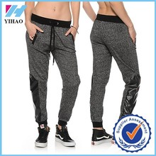 Yihao trade assurance Active women Faux Leahter Panel Speckle Jogger Pants