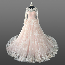 Heavy Lace Wedding Dress Long Sleeve Muslim Bridal Gown Hot Selling Ball Gowns Wedding Dresses with Long Tail