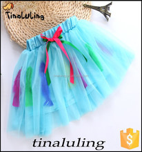 girls turquoise tutu skirts with ostrich feather children professional ballet tutus pettiskirt