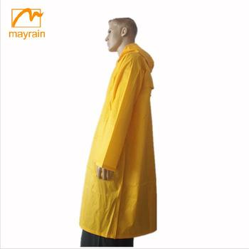 Men yellow POLYESTER/PVC rainwear long raincoat for men