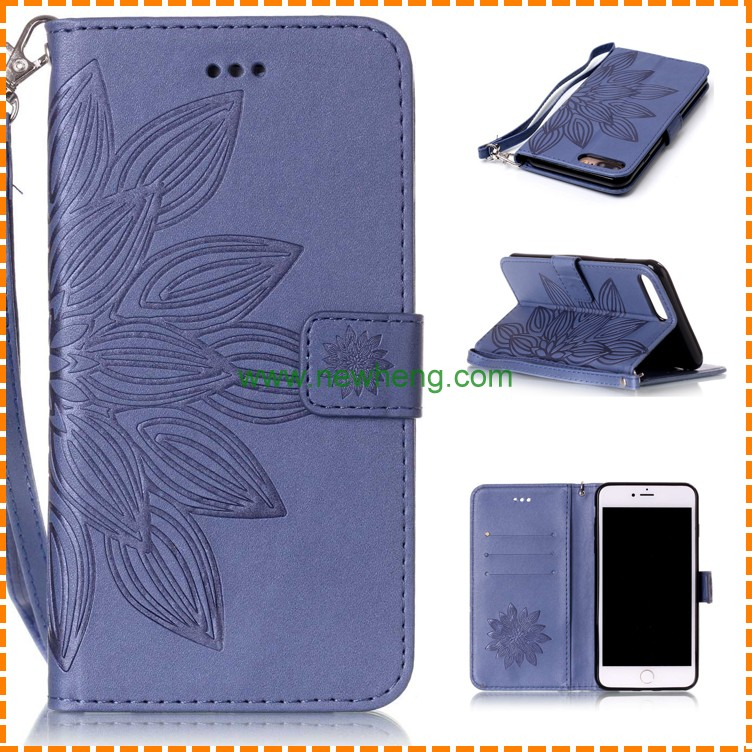 3D Embossing Wallet Folio Leather Flip Card Holder case for Iphone 7 plus