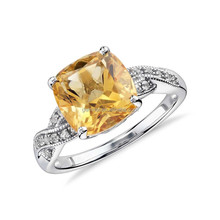 Sterling silver cushion cut citrine yellow sapphire ring gemstone
