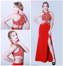 Pictures of latest evening dress red sequins beaded dress 2016 for fat women