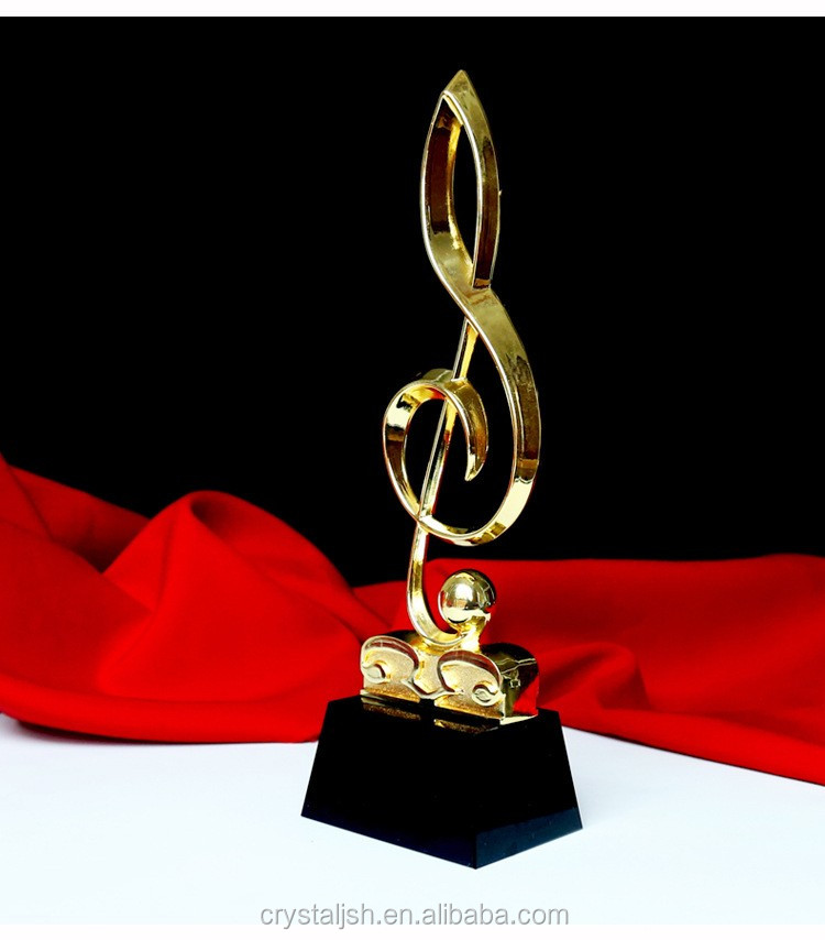 2016 new design crystal music trophy metal music trophy crystal music award