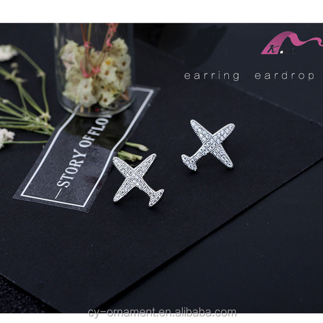 Trendy 925 Sterling Silver Plane Aircraft Stud Earrings for lady