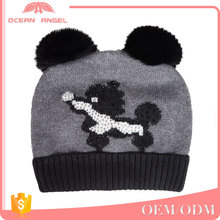 Hot sell custom shape knitted winter knitting animal beanie/hat with two fur balls for child