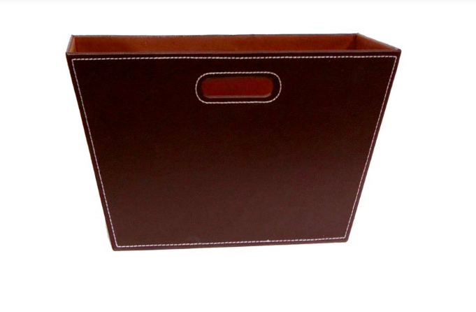 Roosevelt Faux Leather Magazine Holder 15in with brown color