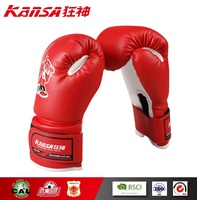 Kansa-0790 Red Color Velcro Design Fashion Style Logo Printing Colored Children Boxing Gloves