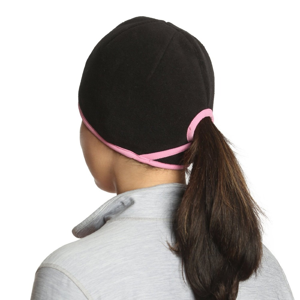 New design Funny Winter Windproof Fleece Ski Hats with Ponytail Hole for Women Sports Cap Outdoor Running or Jogging