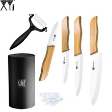 "Zirconia Ceramic Knife Set 3"" 4"" 5"" 6"" White Blade Bamboo Handle Kitchen Knives Kit With Black Holder + Sharp Peeler XYJ Brand"