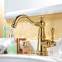 European brass titanium gold plated bath faucet basin faucet curved sanitary