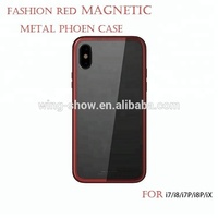 Strong magnetic red metal phone case for iphone 7plus,wholesale for magnetic case