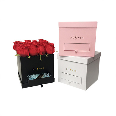 Carboard rose boxes wholesale/ Square flower packaging box with drawer