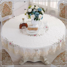 new design Popular Round Damask white Wedding petal Table cloths