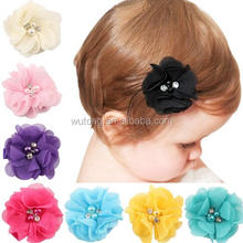18 Colors Chiffon Flowers Newborn Baby Girl Hair Accessories Rose Flower Girls Bouquetie Baby Hair Flowers Rhinstone HairClips