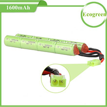 UL Approved 9.6V 1600mAh Butterfly NunChuck NiMH Battery Pack with Mini Tamiya Connector for Airsoft Gun