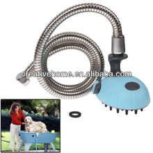 Multifunctional Pet Shower Bath Sprayer Hold Shampoo with Massage (Blue)