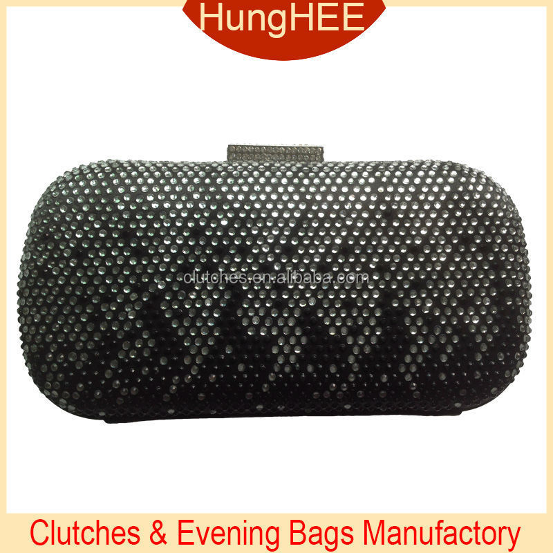 Hot Selling Crystal Clasp Black Satin Hot-fix Rhinestone Hard Case Clutch Bags Wholesale