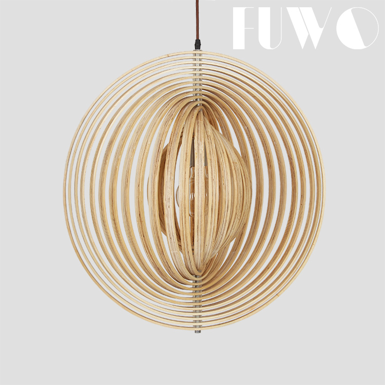 American style antique home decorative hanging vintage lamp modern wood drum handmade circle pendant light