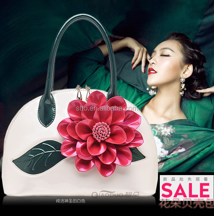 Ladies bags handbag with a large flower in different colors