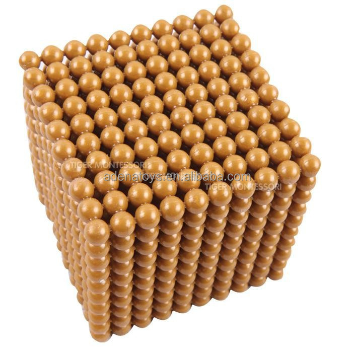 montessori golden bead material thousand cube bead