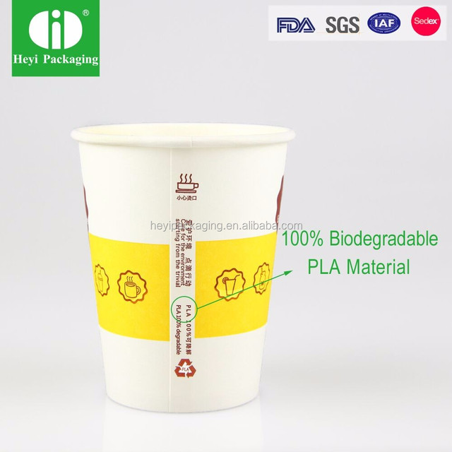 FDA Certificated Biodegradable PLA Hot Coffee Cups