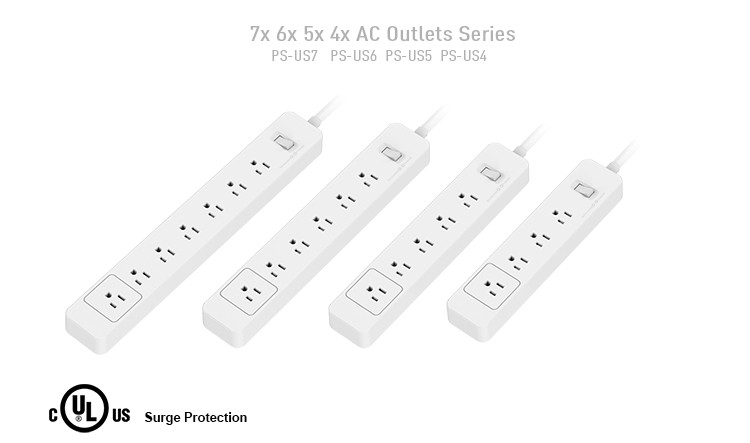 6 us Outlet Home and Office Power Strip Surge Protector with Quick Charger