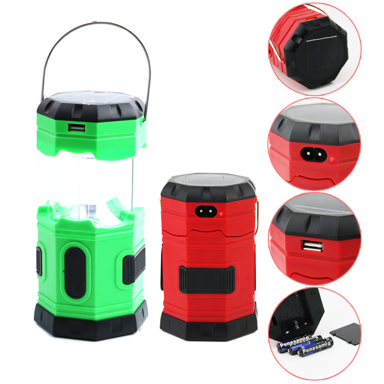 T939 Collapsible USB Mobile Charger 6 led solar rechargeable camping lantern