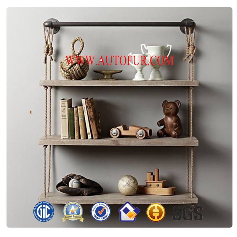 Industrial Style Metal Frame Wooden Decorative Metal Wall Shelf