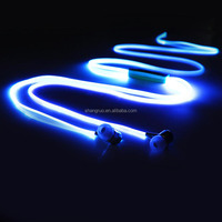 Metal Head Cheap Colorful Earphones Headset, LED headphone Flash Night Light Earphone With Clip Mic For Smartphone