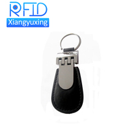 125KHz/13.56MHz/860-900MHz ISO Customizable PU Leather Key Fob with Metal Ring