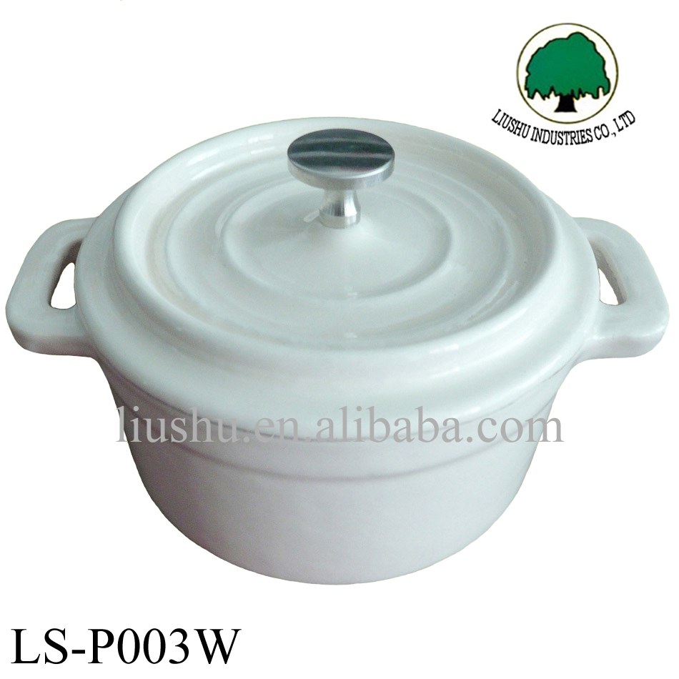 14cm white color mini enamal cast iron casserole cookware pot