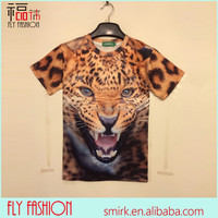 DK007# 2014 Fashion Men Beautiful T-shirt 3D Leopard Print T-shirt Custom Printed T-shirt