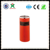 Guangzhou red garbage can stand/metal trash can on sale(QX-147B)
