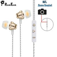 PunnkFunnk Earphone In Ear wired With Mic Volume Control 3.5mm White With RetailBox Black White Gold Three Colors Good Quality