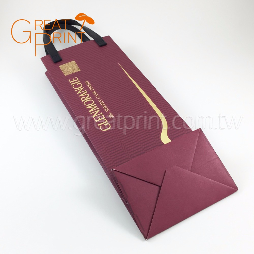 Fashion Handled PU Leather Extra Durable Paper Wine Gift Bag