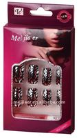 Carved fake nails tips patterned metallic artificial thin nails